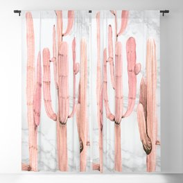 Coral Marble Cactus Watercolor Painting Blackout Curtain