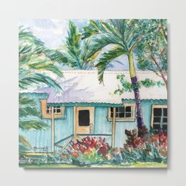 Tropical Vacation Cottage Metal Print