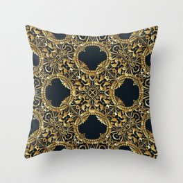 Black Gold Rococo Pattern Throw Pillow