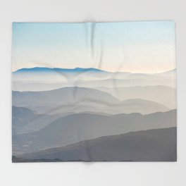 Foggy Mountains in the Distance (Color) Throw Blanket