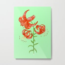 Tiger Lilies (Green Background) Metal Print