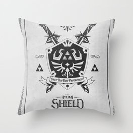 Legend of Zelda Hylian Shield Foundry logo Iconic Geek Line Artly Throw Pillow