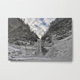 Taughannock Falls State Park in winter (color) Metal Print