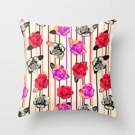 Gothic Camellias Throw Pillow