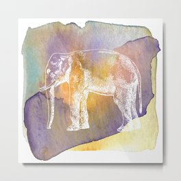 Color Spot Safari Elephant Metal Print