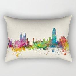 Barcelona Spain Skyline Cityscape Rectangular Pillow