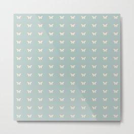 Minimal Butterfly Pattern - Sage Metal Print