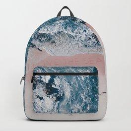 I love the sea - written on the beach Backpack
