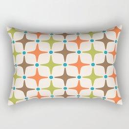 Mid Century Modern Star Pattern 814 Brown Orange Turquoise Chartreuse Rectangular Pillow
