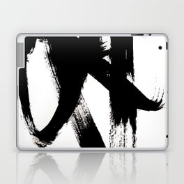 Brushstroke 2 - simple black and white Laptop & iPad Skin