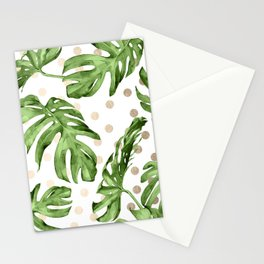 Simply Tropical White Gold Sands Dots and Palm Leaves Stationery Cards
