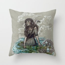 The Sea Witch and Her Sea Gull Throw Pillow