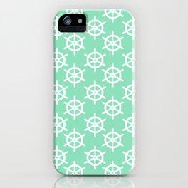 Ship Wheel (White & Mint Pattern) iPhone Case