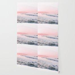 Ocean, Surfer, Pink Sunset, Beach Wall Art Wallpaper