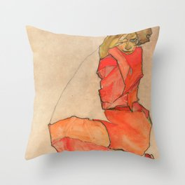 "Egon Schiele ""Kneeling Female in Orange-Red Dress"" Throw Pillow"