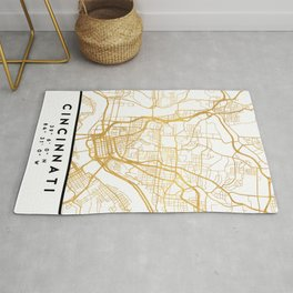 CINCINNATI OHIO CITY STREET MAP ART Rug