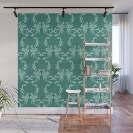 Turquoise damask pattern Wall Mural