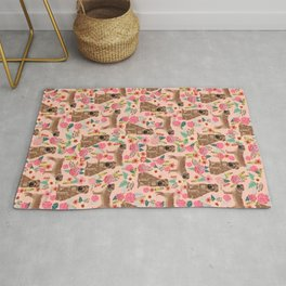 Sharpei dog breed florals dog pattern for dog lover by pet friendly sharpeis Rug