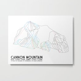 Cannon Mountain, NH - Minimalist Trail Art Metal Print