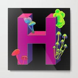 Letter H neon Metal Print