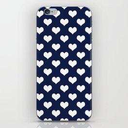Navy Blue Love Hearts Minimal iPhone Skin