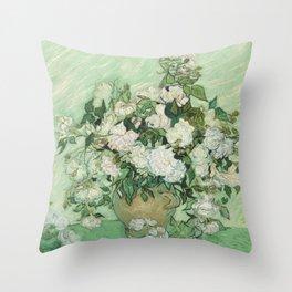 Vincent van Gogh - Roses Throw Pillow