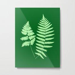 Woodland Fern Pattern, Light Green and  Emerald Metal Print