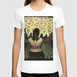 1941 Classical Masterpiece Calla lily 'Flower Seller' by Diego Rivera T-shirt