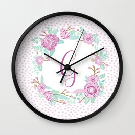 Monogram G - cute girls purple florals flower wreath, lilac florals, baby girl, baby blanket Wall Clock