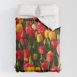 Peace, Love And Tulips Comforters