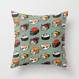 Sushi English Bulldog Throw Pillow