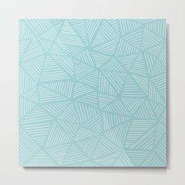 Powder Blue Triangles Metal Print