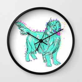 The happy GOLDEN RETRIEVER Love of My Life - your Golden dog keeps you smiling! Wall Clock