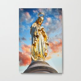 Virgin Mary from christian religion gold statue in France Metal Print
