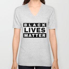 BLACK LIVES MATTER (in style of Explicit Content notice) Unisex V-Neck