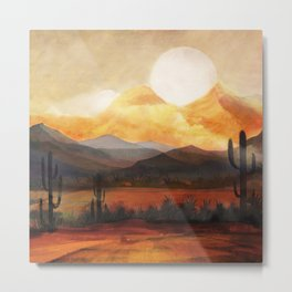 Desert in the Golden Sun Glow Metal Print