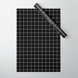 Grid Pattern Line Stripe Black and White Minimalist Geometric Stripes Lines Wrapping Paper