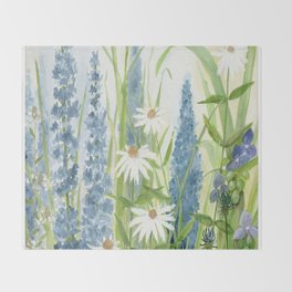 Watercolor Botanical Garden Flower Wildflower Blue Flower Garden Throw Blanket