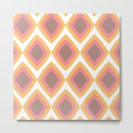 Retro rhombus - yellow-red-brown Metal Print
