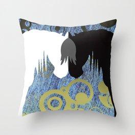 Yin & Yang Horses SeaStorm Throw Pillow