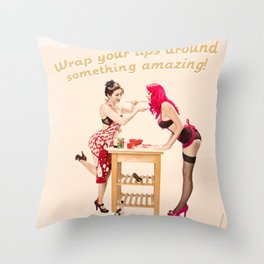 """Sherman Syrups"" - The Playful Pinup - 50s Advertisement Parody Pin-up Girls by Maxwell H. Johnson Throw Pillow"
