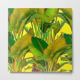 GOLDEN TROPICAL FOLIAGE GREEN & GOLD LEAVES AR Metal Print