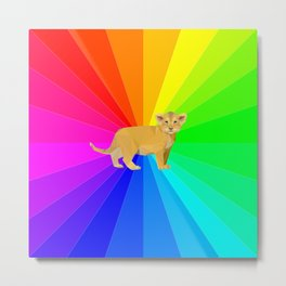 Baby Lion Just Chill In The Rainbow Metal Print