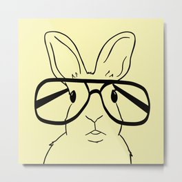 Easter Bunny With Glasses On Yellow Background Metal Print