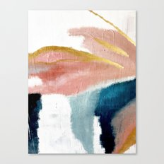 Exhale: a pretty, minimal, acrylic piece in pinks, blues, and gold Canvas Print