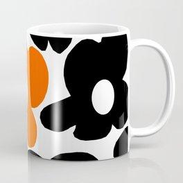Large Orange and Black Retro Flowers White Background #decor #society6 #buyart Coffee Mug