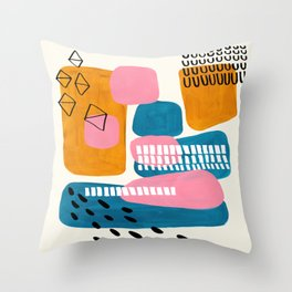 Mid Century Modern abstract Minimalist Fun Colorful Shapes Patterns Pink Teal Yellow Ochre Bubbles Throw Pillow