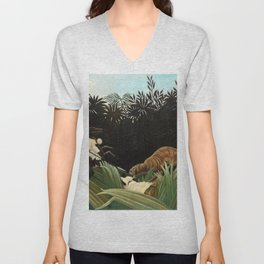 Henri Rousseau - Scouts Attacked by a Tiger Unisex V-Neck