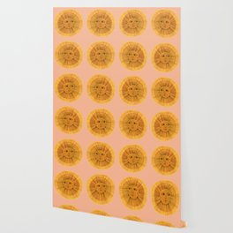 Sun Drawing Gold and Pink Wallpaper
