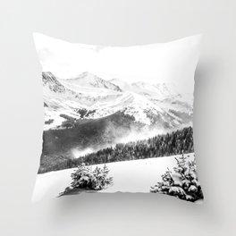 Fresh Snow Dust // Black and White Powder Day on the Mountain Throw Pillow